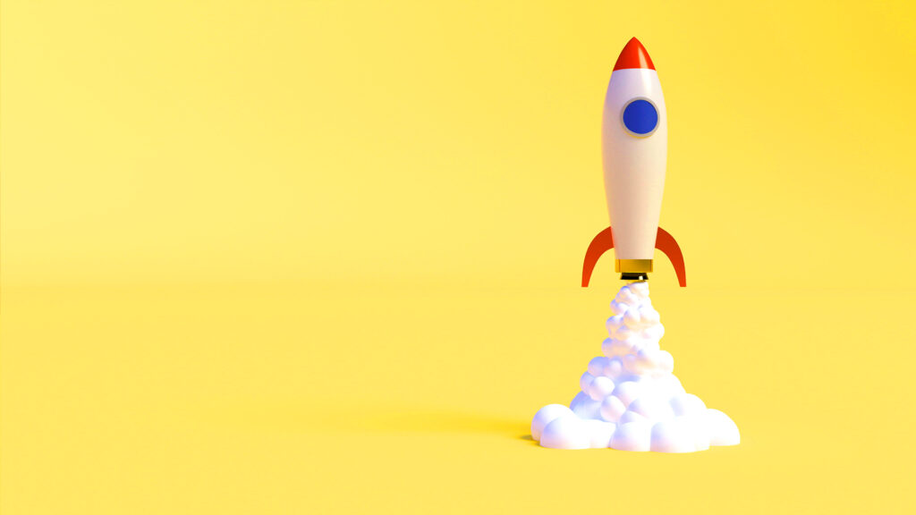 cohete fondo amarillo emprender